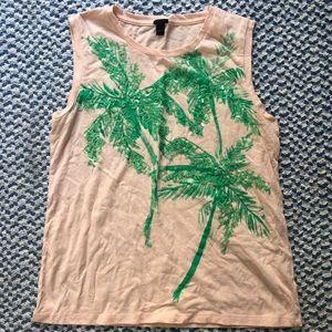 JCrew Palm Tree Sequined Tank